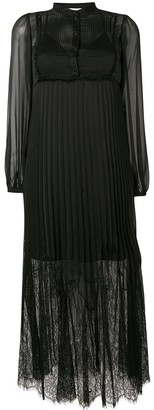 McQ Lace Panel Pleated Dress