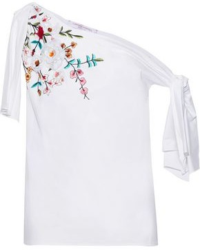 Carolina Herrera Off-the-shoulder Knotted Floral-appliqued Cotton-poplin Top