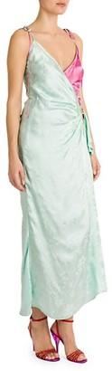 ATTICO Bicolor Floral Jacquard Slip Dress