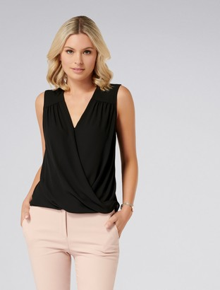 Forever New Ebony Sleeveless Wrap Top - Black - 6