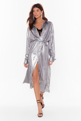 Nasty Gal Womens One More Can't Shirt Metallic Midi Dress - Silver