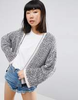 Asos Crop Cardigan In Textured Stitch And Wide Sleeves