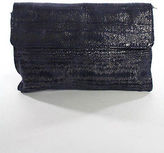 Nanette Lepore Dark Blue Suede Silver Tone Fold Over Small Clutch Handbag
