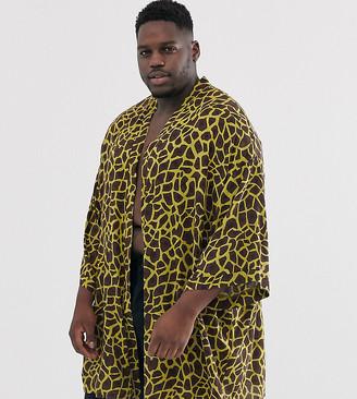 ASOS DESIGN Plus kimono in giraffe print
