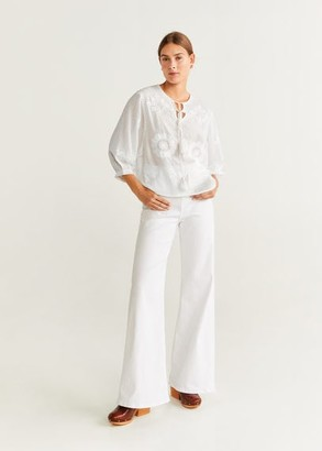 MANGO Embroidered cord blouse off white - 6 - Women