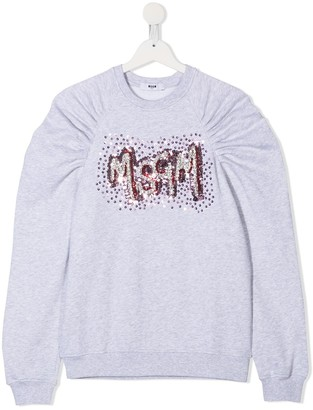 Msgm Kids Sequin Embellished Gathered Sweatshirt