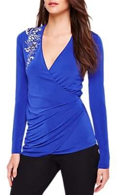 Damsel in a Dress Samia Embellished Wrap Top, Blue