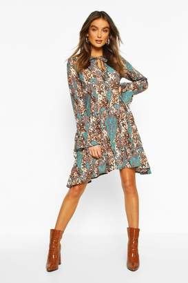 boohoo Paisley Animal Mix Print Smock Dress