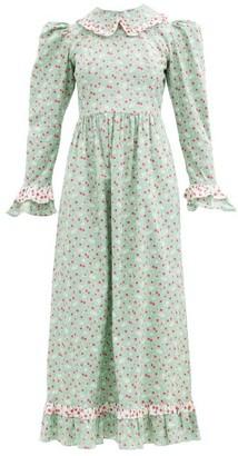 Batsheva Ruth Apple-blossom Print Cotton-poplin Dress - Green Print