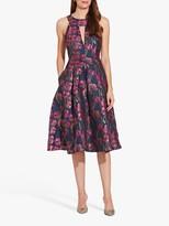 Adrianna Papell Floral Print Jacquard Dress, Fuschia/Multi