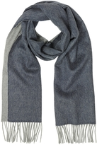 Lanvin Blue and Gray Reversible Pure Cashmere Men's Scarf