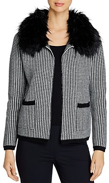 Sioni Houndstooth Cardigan with Faux Fur Collar