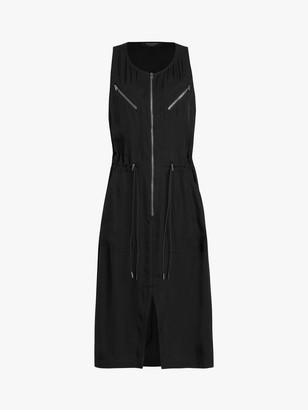 AllSaints Vola Zip Midi Dress