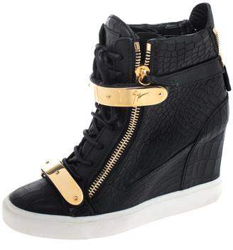 Giuseppe Zanotti Black Croc Embossed Leather Lorenz Wedge High Top Sneakers Size 39