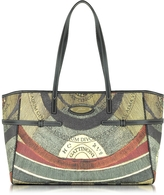 Gattinoni Planetarium Coated Canvas Tote w/Leather Strips
