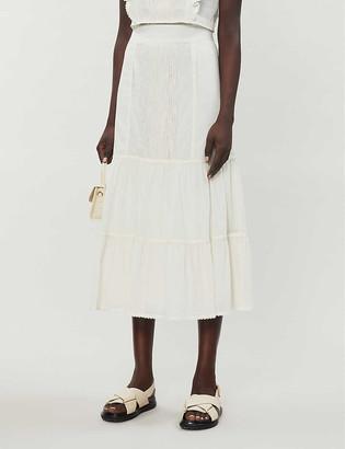 Whistles Mixed lace cotton maxi skirt