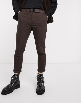 Asos DESIGN tapered chinos in brown