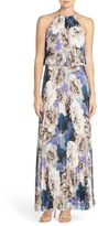 Xscape Evenings Pleat Print Chiffon Gown