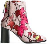 MSGM leaf print ankle boots