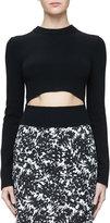 Michael Kors Long-Sleeve Slashed Cashmere Sweater, Black