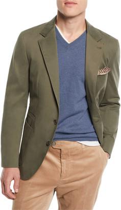 Brunello Cucinelli Men's Patch-Pocket Cotton Blazer Jacket