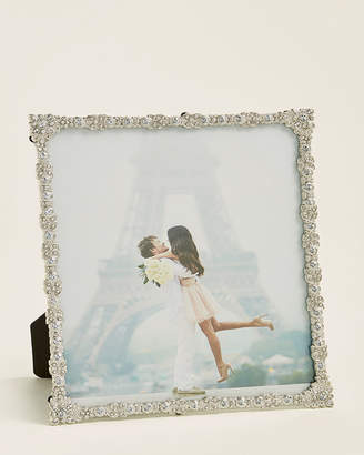 """Philip Whitney 8"""" x 10"""" Silver Floral Diamond Jeweled Picture Frame"""