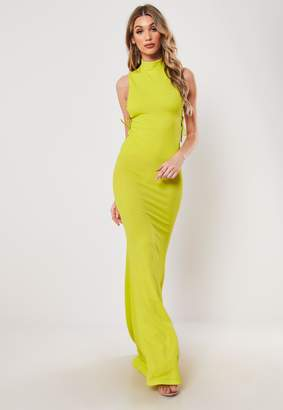 Missguided Lime Lace Up Side Maxi Dress