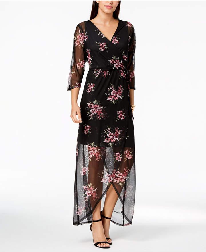 Connected Floral-Print Wrap Maxi Dress