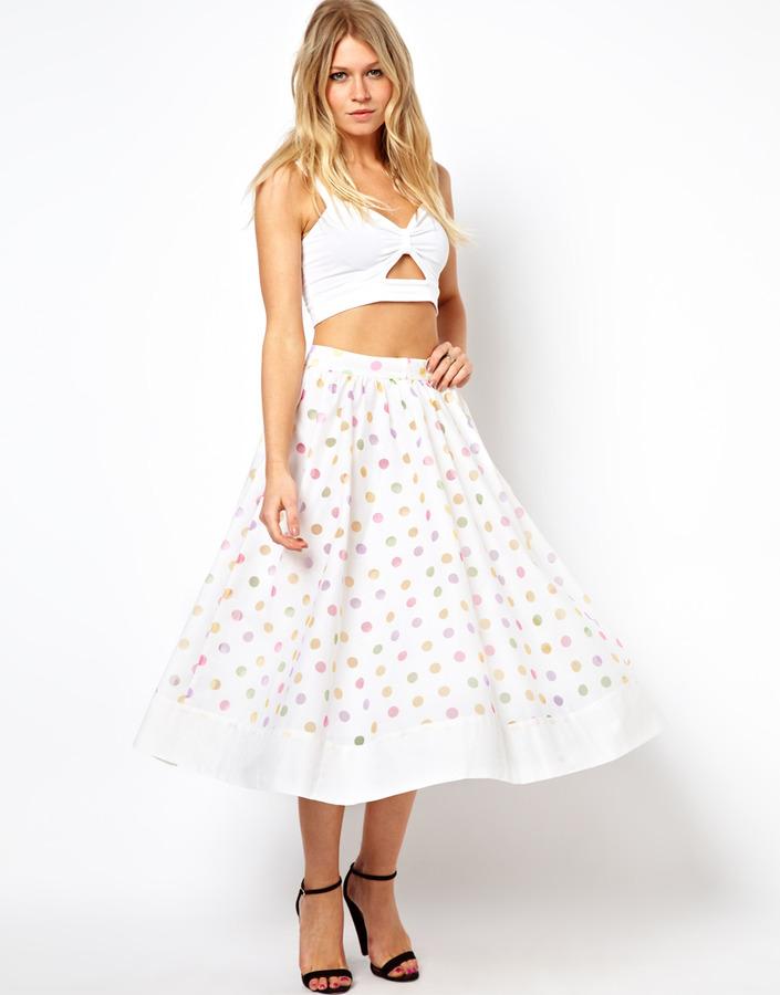 Asos Midi Skirt in Multi Spot