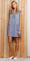 Greylin Lace Up Sleeveless Shirt Dress