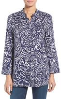Nic+Zoe Seacoast Print Linen Mandarin Collar Blouse (Petite)