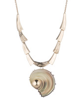 Alexis Bittar Sculptural Shell Pendant Necklace and Convertible Pin