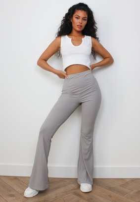 Missguided Grey Rib Flared Trousers