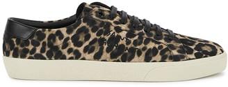 Saint Laurent Court leopard-print suede sneakers