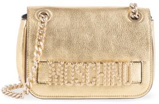 Moschino Embellished Logo Metallic Leather Shoulder Bag