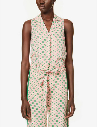 Me And Em Summer graphic-print sleeveless crepe shirt