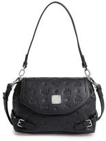MCM Signature Monogram Embossed Leather Shoulder/crossbody Bag - Black