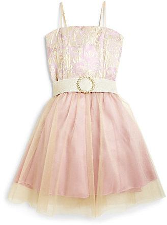 Un Deux Trois Girl's Jacquard Tulle Dress