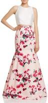 Aqua Floral Print Two Piece Gown - 100% Exclusive