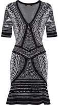 Roberto Cavalli Fluted Metallic Jacquard-Knit Mini Dress