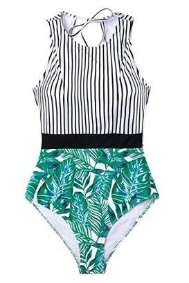 CUPSHE Women's Black Striped Leafy One Piece Swimsuit