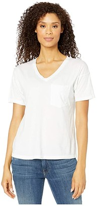 Mod-o-doc Superme Easy Fit Short Sleeve V-Neck Pocket Tee (White) Women's Clothing