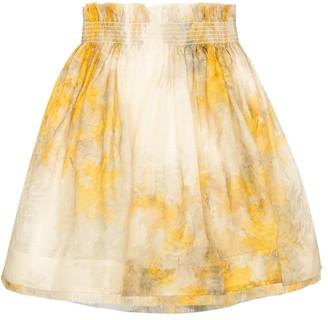 Zimmermann Botanica Wattle linen and silk miniskirt