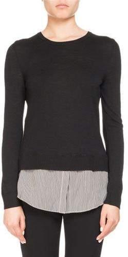Altuzarra Walkaloosa Crewneck Wool Sweater w/ Pinstripe Shirt Hem