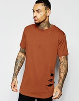 Criminal Damage Longline T-Shirt With Distressing