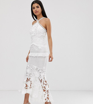 True Decadence Tall premium lace midi dress with high low hem in white