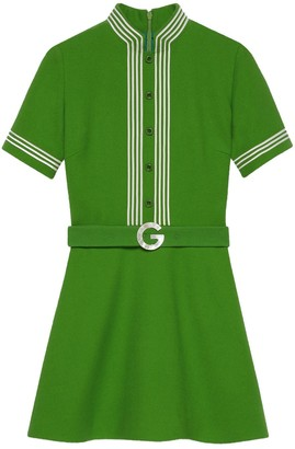 Gucci Belted Crepe Dress