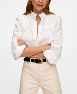 MANGO Women's Puffed-Shoulder Blouse