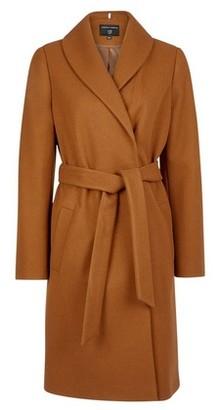 Dorothy Perkins Womens Camel Shawl Collar Wrap Coat