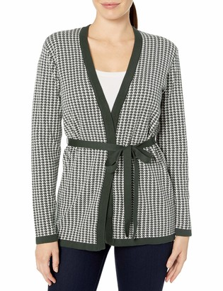 Chaus Women's Long Sleeve Houndstooth Belted Cardigan